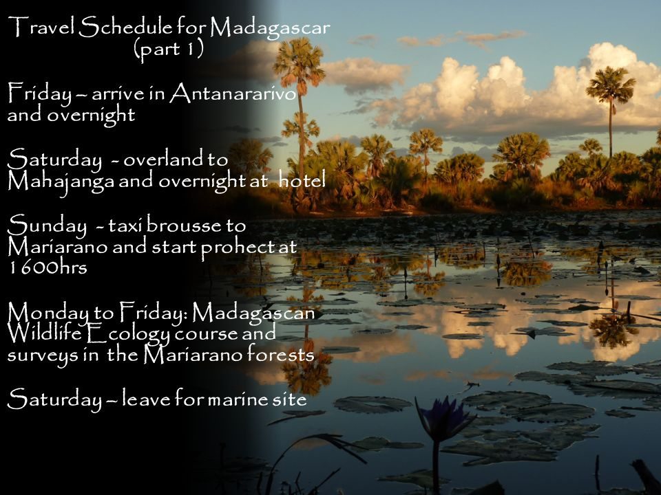 Travel Schedule for Madagascar (part 1) Friday – arrive in Antanararivo and overnight Saturday - overland to Mahajanga and overnight at hotel Sunday -
