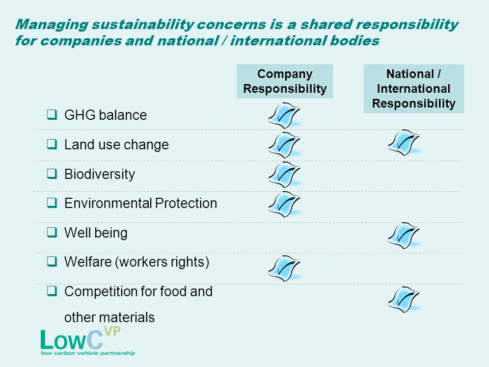 Managing sustainability concerns is a shared responsibility for companies and national / international bodies GHG balance Land use change Biodiversity