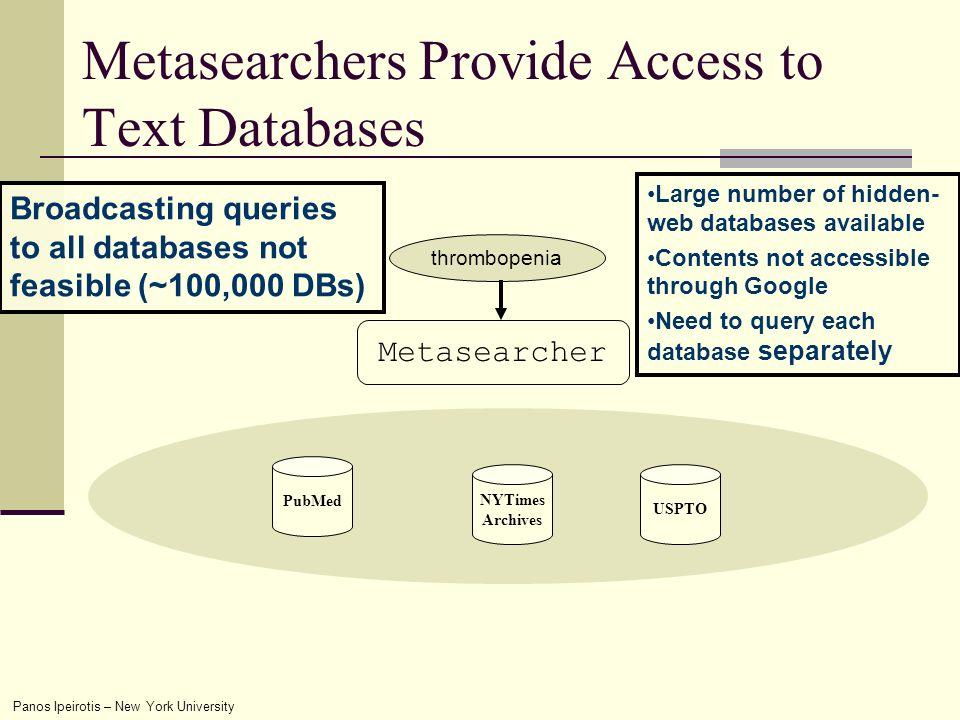 Panos Ipeirotis – New York University thrombopenia Metasearchers Provide Access to Text Databases Metasearcher NYTimes Archives PubMed USPTO...