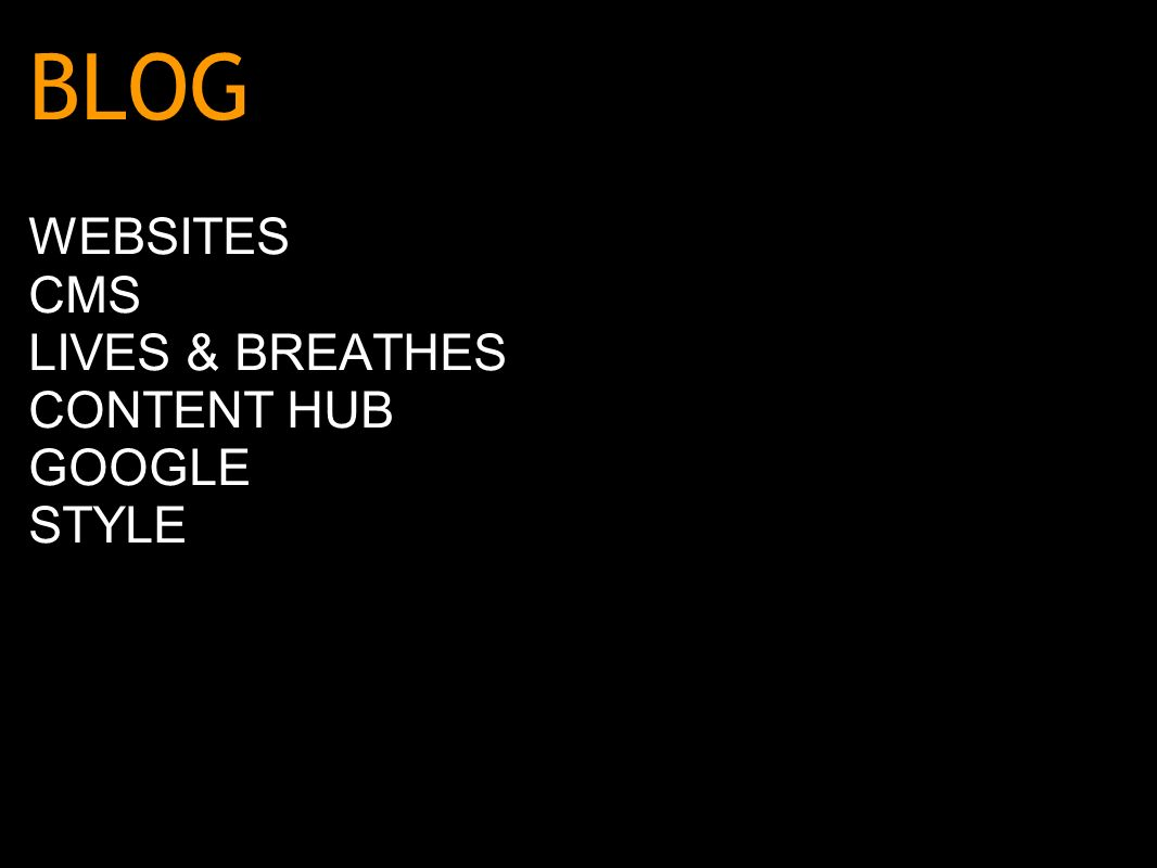 BLOG WEBSITES CMS LIVES & BREATHES CONTENT HUB GOOGLE STYLE