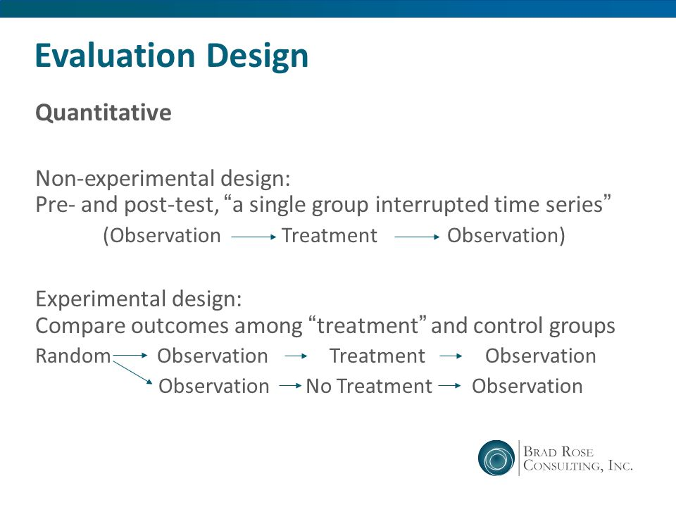 Evaluation Design Quantitative Non-experimental design: Pre- and post-test, a single group interrupted time series (Observation Treatment Observation)