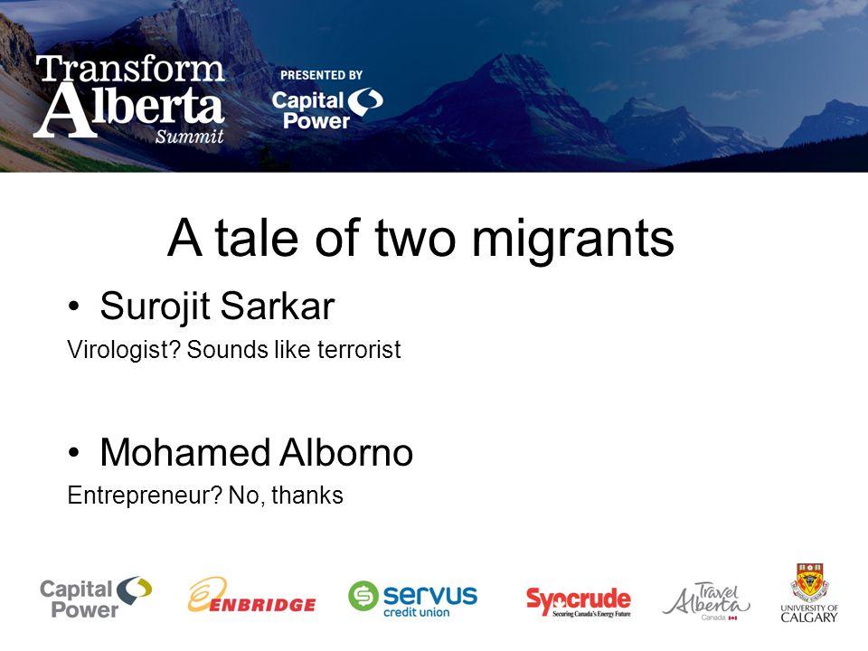 A tale of two migrants Surojit Sarkar Virologist? Sounds like terrorist Mohamed Alborno Entrepreneur? No, thanks