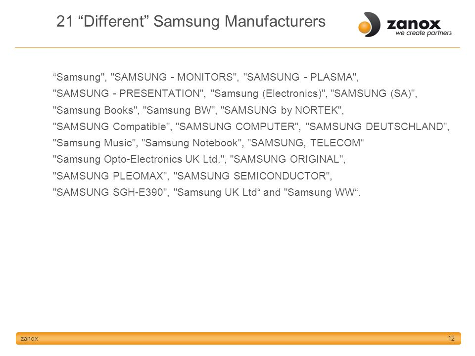 zanox12 21 Different Samsung Manufacturers Samsung , SAMSUNG - MONITORS , SAMSUNG - PLASMA , SAMSUNG - PRESENTATION , Samsung (Electronics) , SAMSUNG (SA) , Samsung Books , Samsung BW , SAMSUNG by NORTEK , SAMSUNG Compatible , SAMSUNG COMPUTER , SAMSUNG DEUTSCHLAND , Samsung Music , Samsung Notebook , SAMSUNG, TELECOM Samsung Opto-Electronics UK Ltd. , SAMSUNG ORIGINAL , SAMSUNG PLEOMAX , SAMSUNG SEMICONDUCTOR , SAMSUNG SGH-E390 , Samsung UK Ltd and Samsung WW.