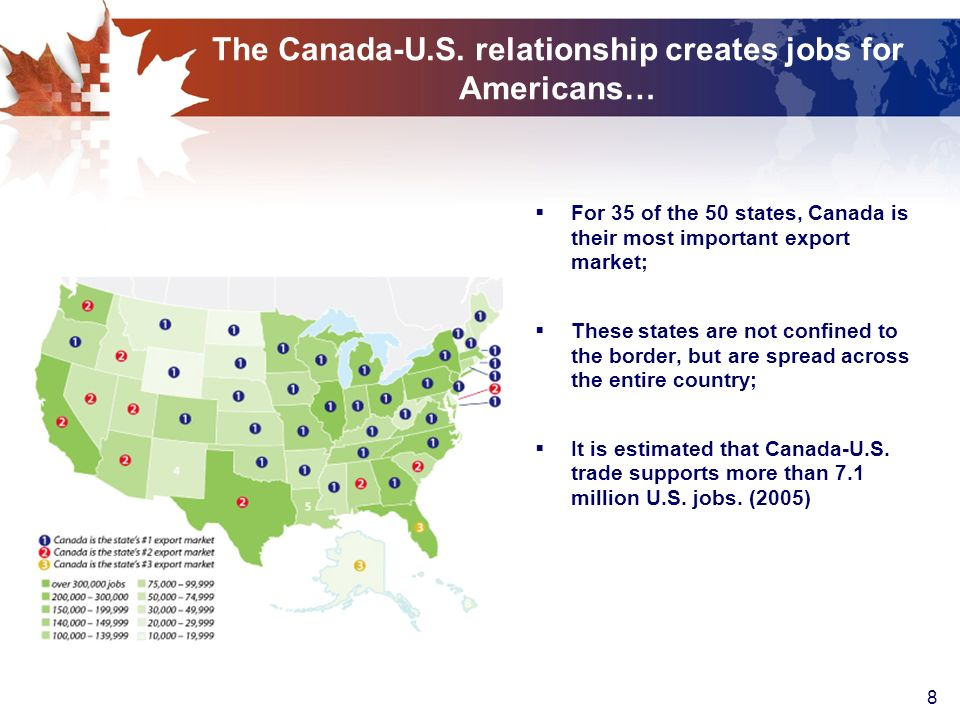 8 The Canada-U.S. relationship creates jobs for Americans… For 35 of the 50 states, Canada is their most important export market; These states are not
