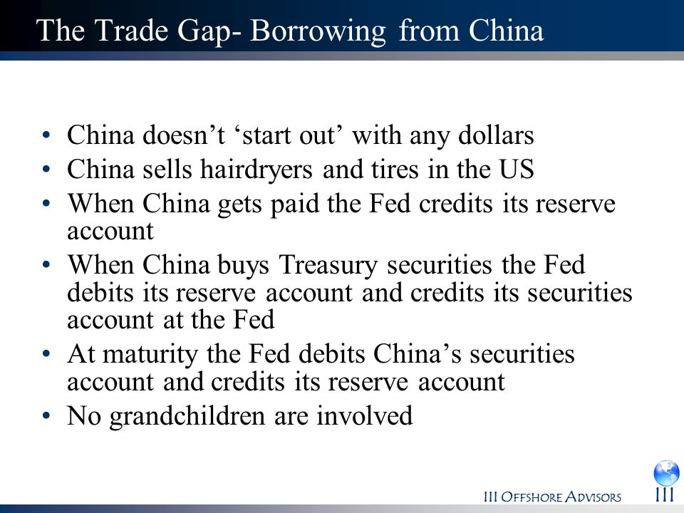 III O FFSHORE A DVISORS III The Trade Gap- Borrowing from China China doesnt start out with any dollars China sells hairdryers and tires in the US Whe