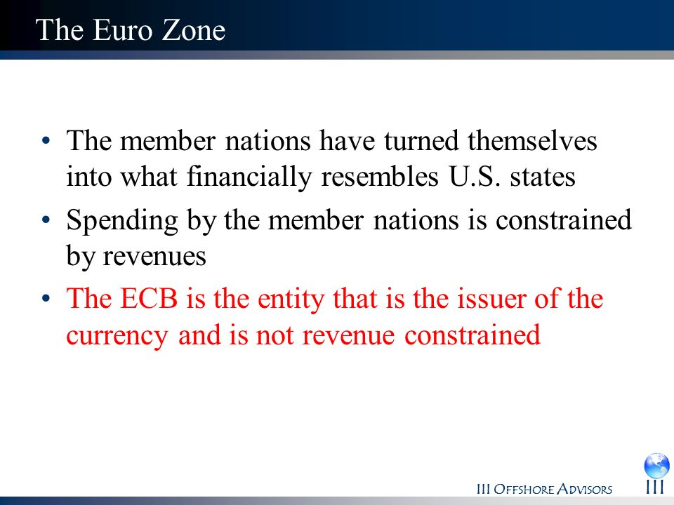 III O FFSHORE A DVISORS III The Euro Zone The member nations have turned themselves into what financially resembles U.S. states Spending by the member
