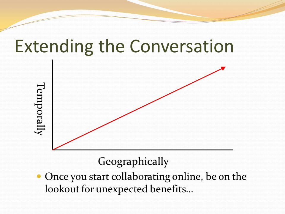 Extending the Conversation Once you start collaborating online, be on the lookout for unexpected benefits… Temporally Geographically