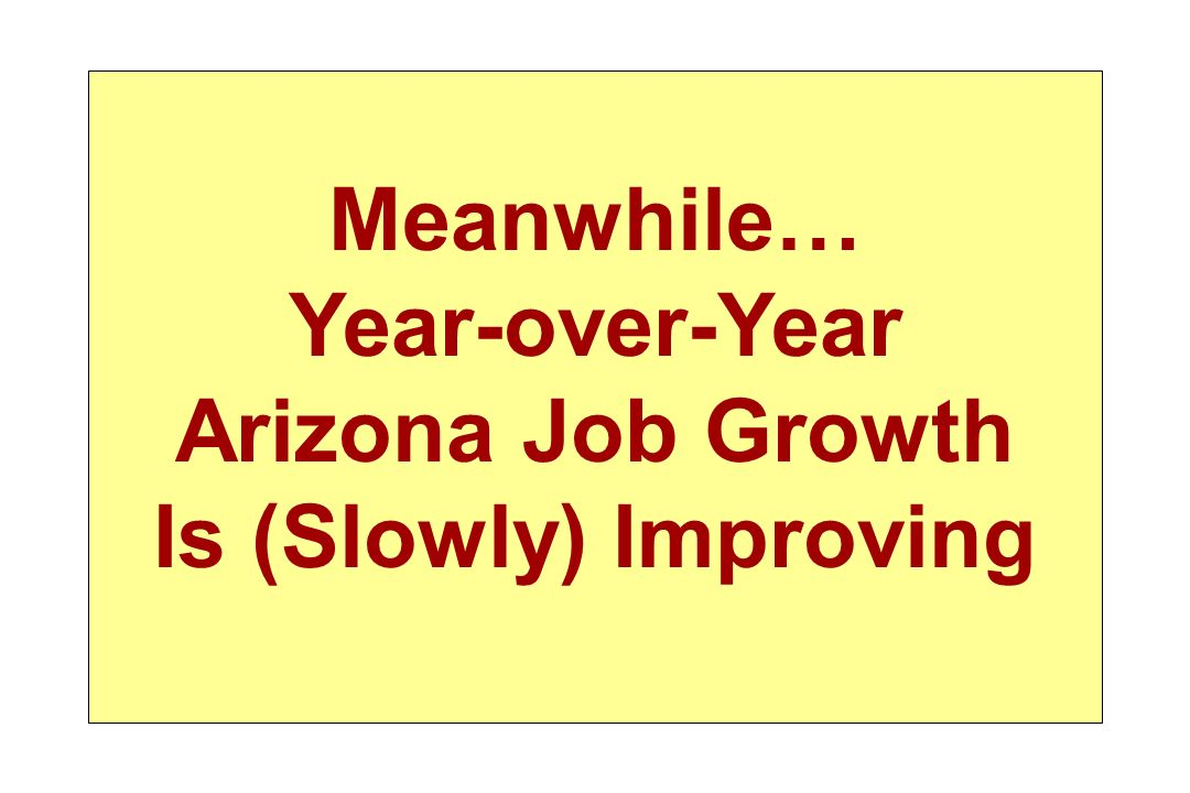 Meanwhile… Year-over-Year Arizona Job Growth Is (Slowly) Improving