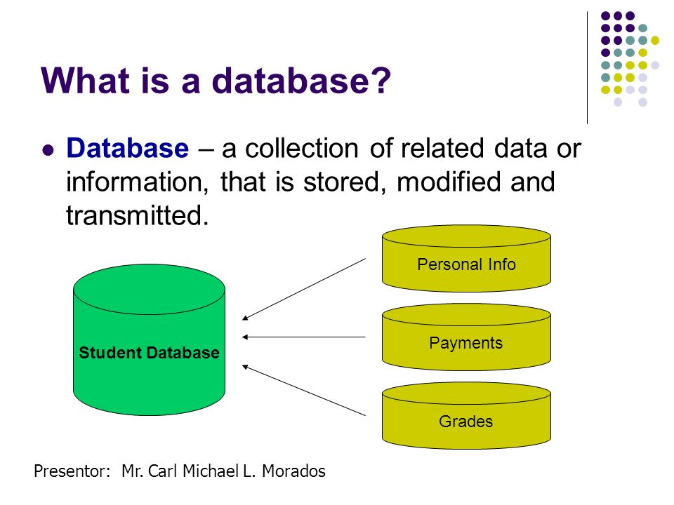 Presentor: Mr. Carl Michael L. Morados What is a database? Database – a collection of related data or information, that is stored, modified and transm