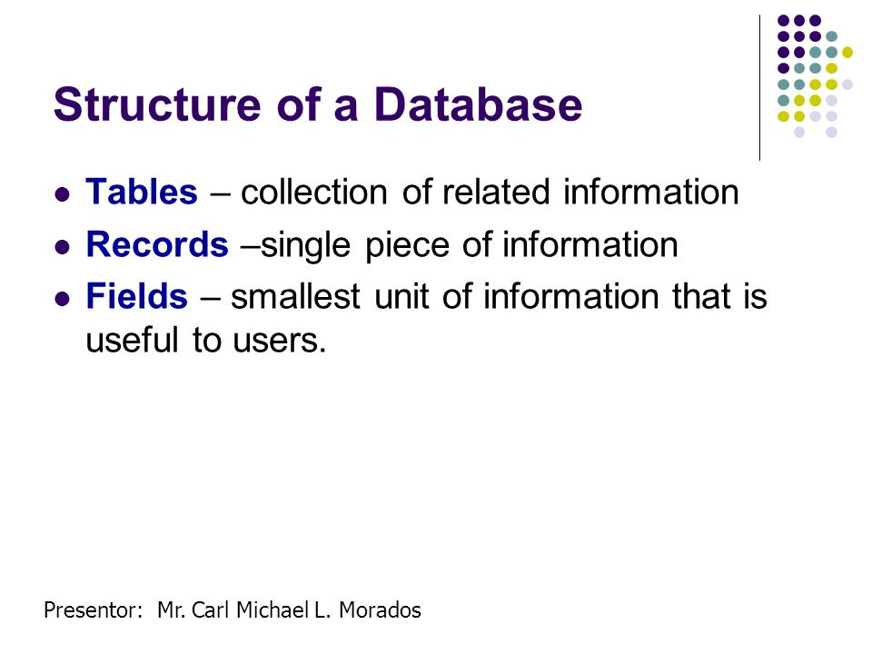 Presentor: Mr. Carl Michael L. Morados Structure of a Database Tables – collection of related information Records –single piece of information Fields