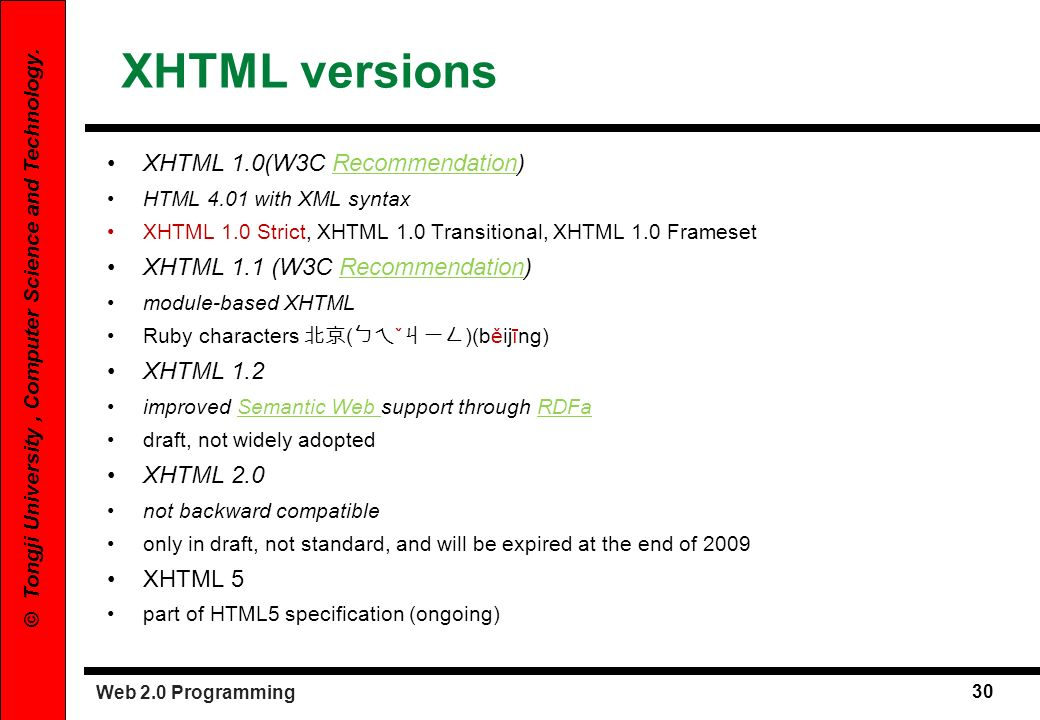 Web 2.0 Programming 30 © Tongji University, Computer Science and Technology. XHTML versions XHTML 1.0(W3C Recommendation)Recommendation HTML 4.01 with