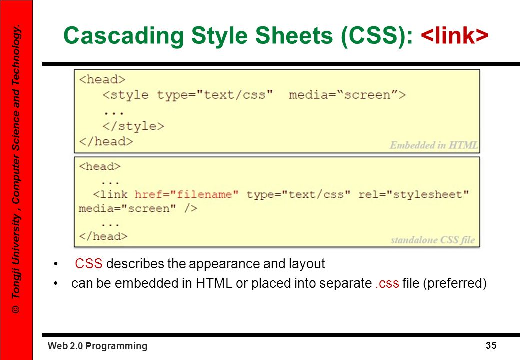 Web 2.0 Programming 35 © Tongji University, Computer Science and Technology. Cascading Style Sheets (CSS): CSS describes the appearance and layout can