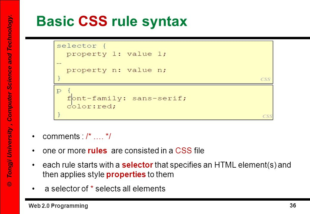 Web 2.0 Programming 36 © Tongji University, Computer Science and Technology. Basic CSS rule syntax comments : /* …. */ one or more rules are consisted