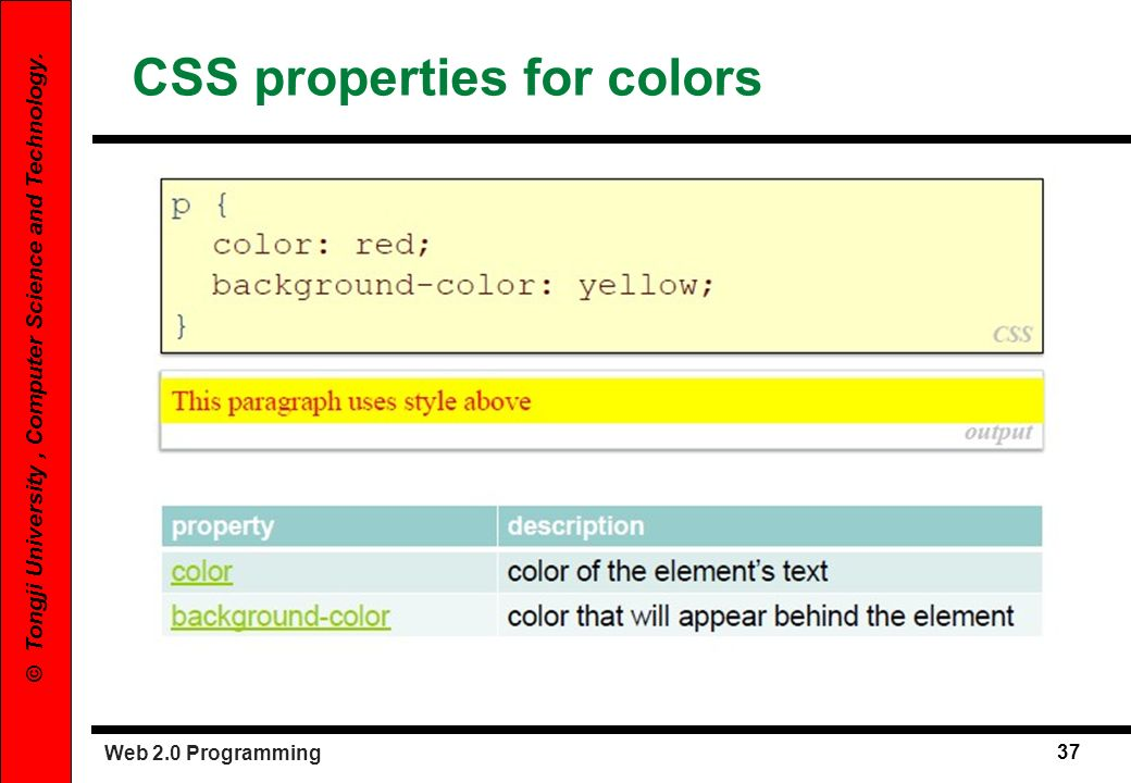 Web 2.0 Programming 37 © Tongji University, Computer Science and Technology. CSS properties for colors