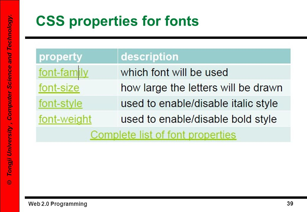 Web 2.0 Programming 39 © Tongji University, Computer Science and Technology. CSS properties for fonts