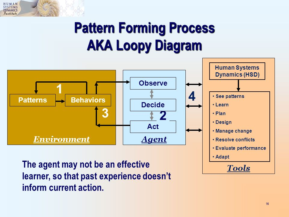 16 PatternsBehaviors Environment 1 Pattern Forming Process AKA Loopy Diagram Act Agent Observe 2 Decide 3 Tools See patterns Learn Plan Design Manage change Resolve conflicts Evaluate performance Adapt Human Systems Dynamics (HSD) 4 The agent may not be an effective learner, so that past experience doesnt inform current action.