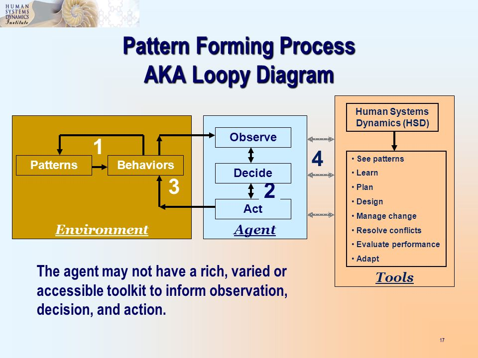 17 PatternsBehaviors Environment 1 Pattern Forming Process AKA Loopy Diagram Act Agent Observe 2 Decide 3 Tools See patterns Learn Plan Design Manage