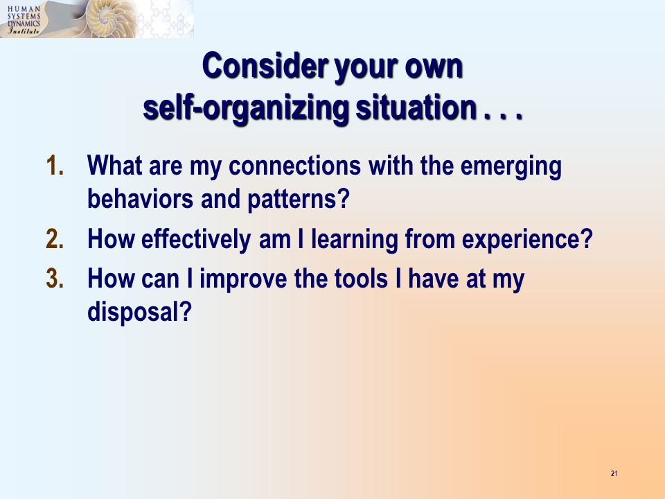 Consider your own self-organizing situation...