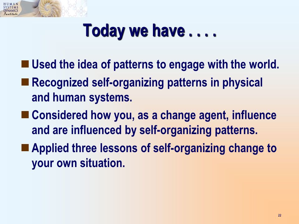 Today we have.... Used the idea of patterns to engage with the world. Recognized self-organizing patterns in physical and human systems. Considered ho