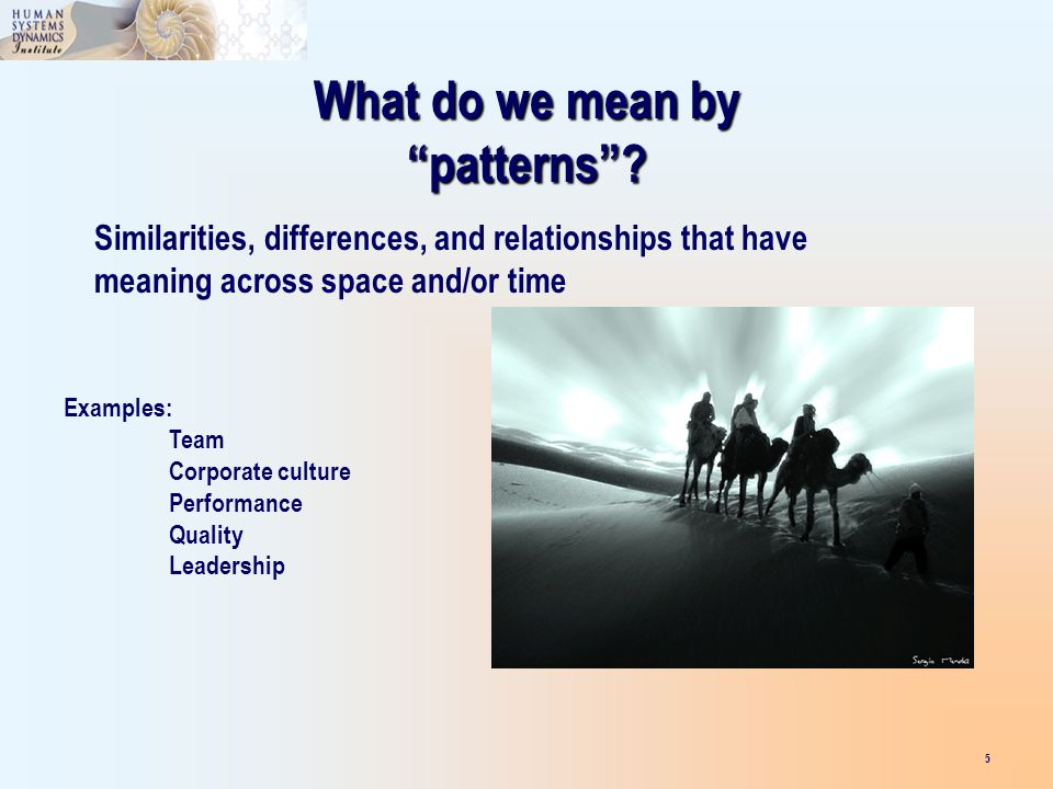What do we mean by patterns? Similarities, differences, and relationships that have meaning across space and/or time Examples: Team Corporate culture