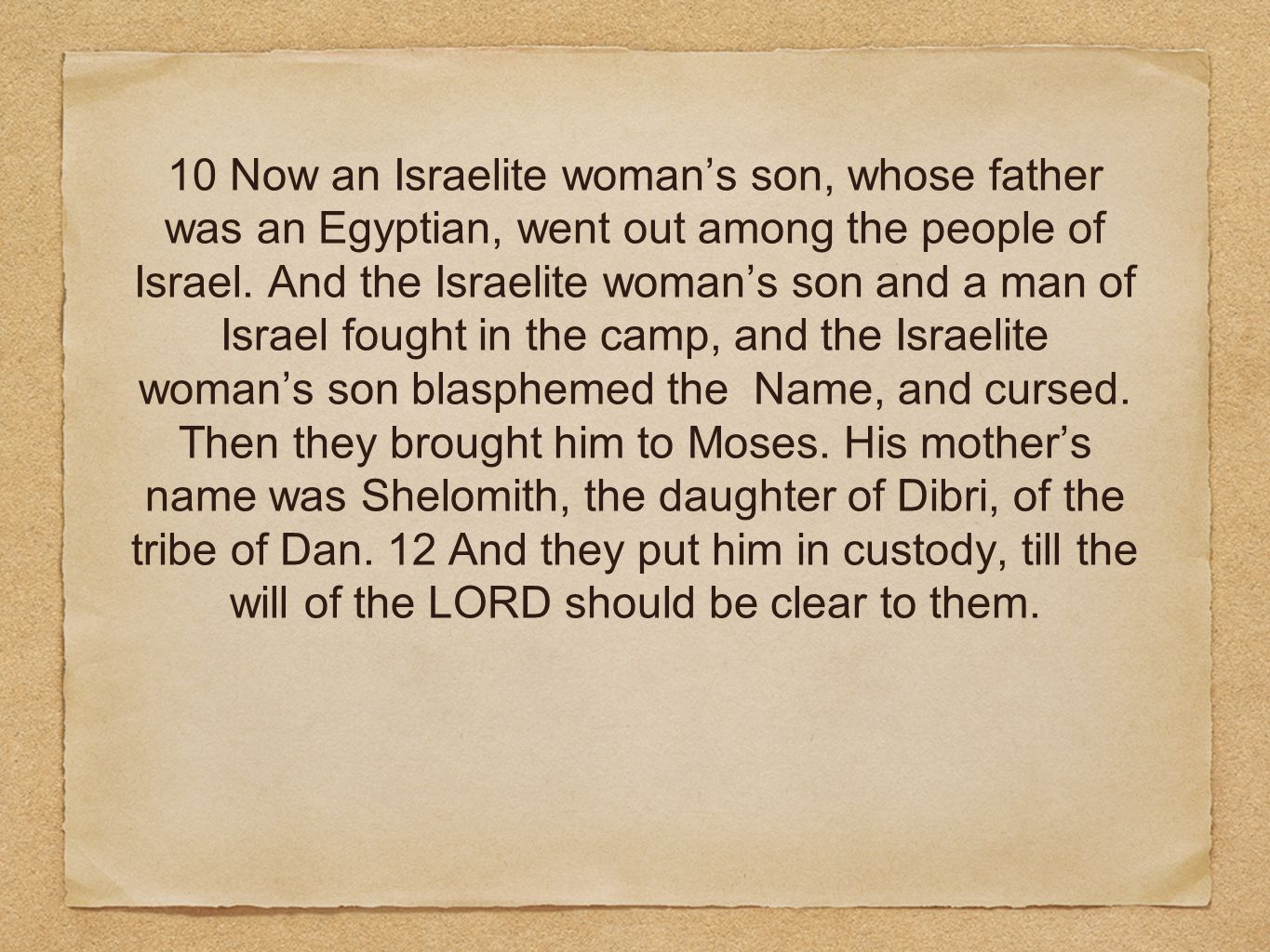 10 Now an Israelite womans son, whose father was an Egyptian, went out among the people of Israel. And the Israelite womans son and a man of Israel fo