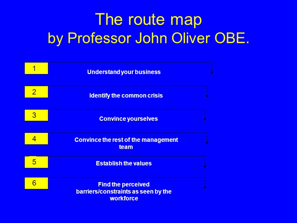 The route map by Professor John Oliver OBE.