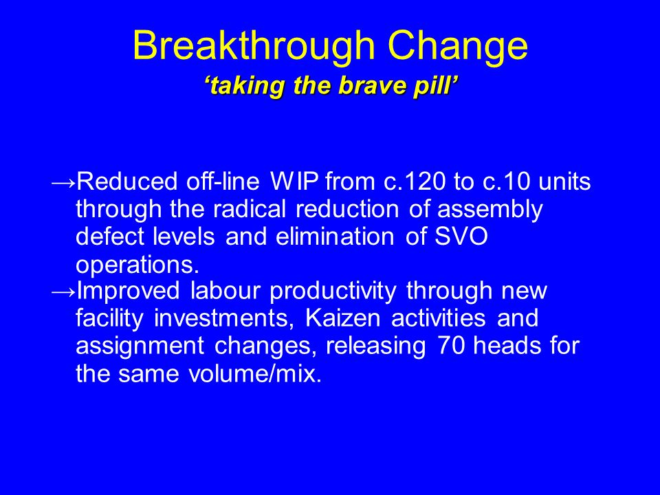 Breakthrough Change taking the brave pill Reduced off-line WIP from c.120 to c.10 units through the radical reduction of assembly defect levels and elimination of SVO operations.