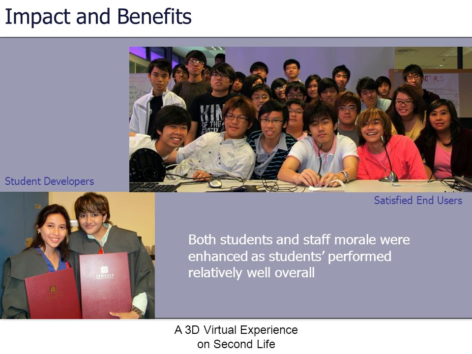 A 3D Virtual Experience on Second Life Both students and staff morale were enhanced as students performed relatively well overall Impact and Benefits
