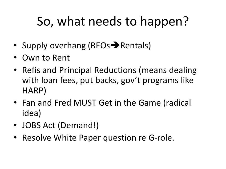 So, what needs to happen.