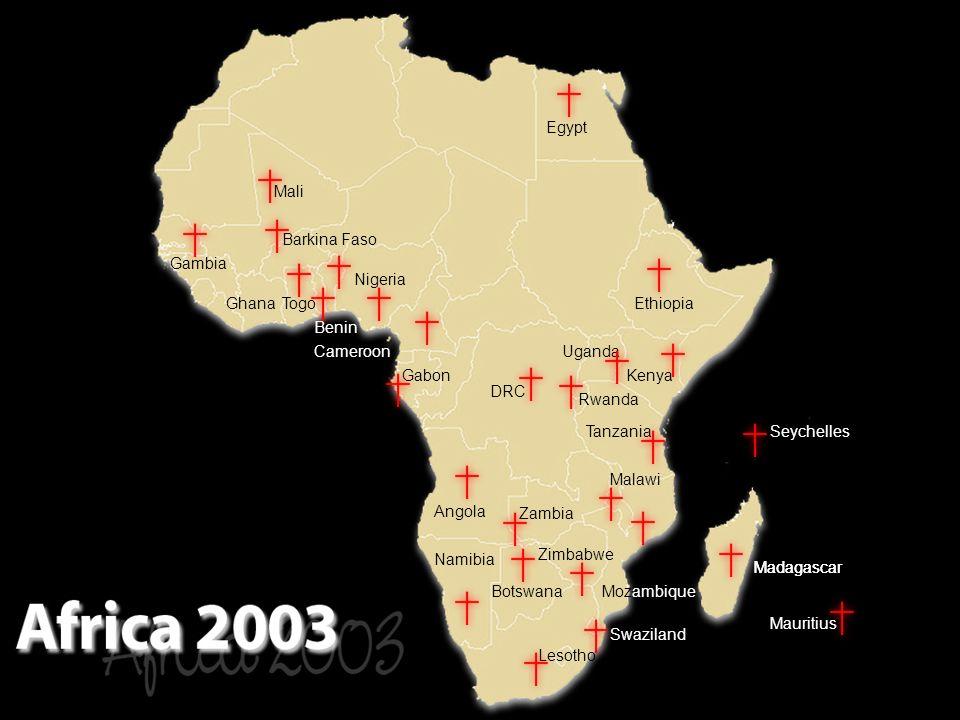 Lesotho Swaziland Madagascar Mauritius Namibia Botswana Zimbabwe Mozambique Angola Zambia Malawi Madagascar SeychellesTanzania Rwanda Kenya Uganda Ethiopia Egypt DRC Gabon Cameroon Benin Nigeria TogoGhana Barkina Faso Mali