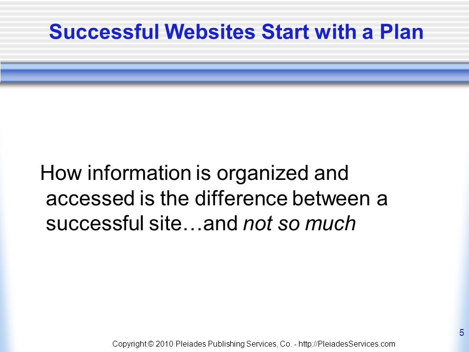 Copyright © 2010 Pleiades Publishing Services, Co. - http://PleiadesServices.com 5 Successful Websites Start with a Plan How information is organized