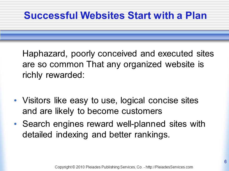 Copyright © 2010 Pleiades Publishing Services, Co. - http://PleiadesServices.com 6 Successful Websites Start with a Plan Haphazard, poorly conceived a
