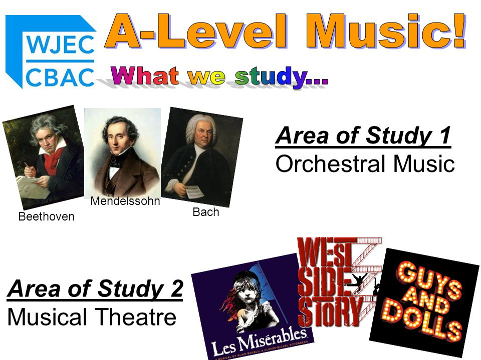 Area of Study 1 Orchestral Music Area of Study 2 Musical Theatre Beethoven Bach Mendelssohn