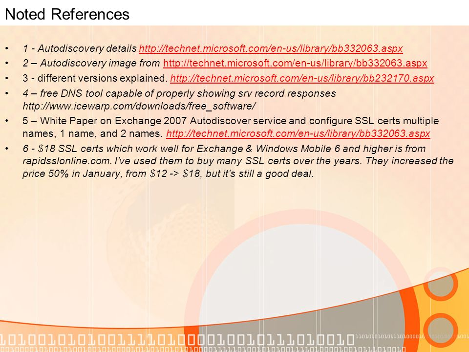 Noted References 1 - Autodiscovery details   2 – Autodiscovery image from different versions explained.