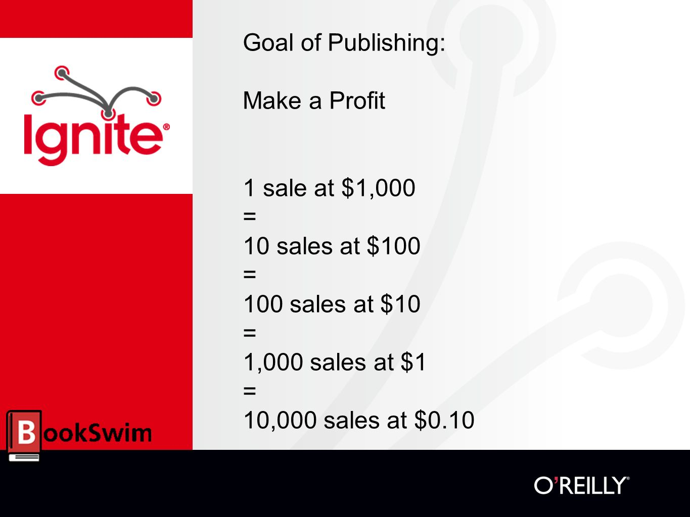 Goal of Publishing: Make a Profit 1 sale at $1,000 = 10 sales at $100 = 100 sales at $10 = 1,000 sales at $1 = 10,000 sales at $0.10