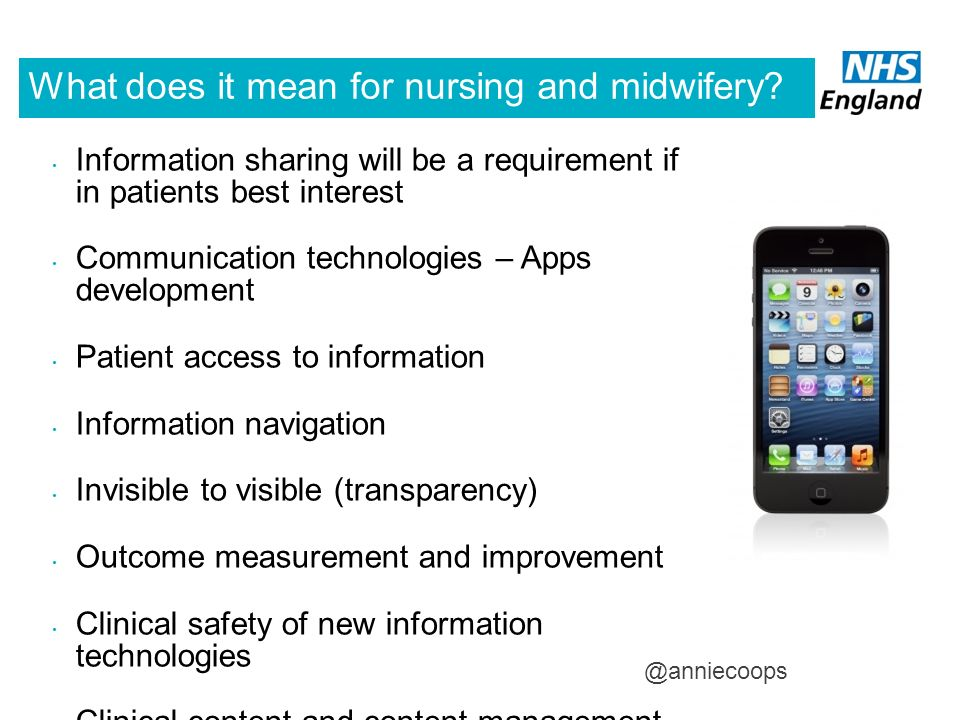 What does it mean for nursing and midwifery? Information sharing will be a requirement if in patients best interest Communication technologies – Apps
