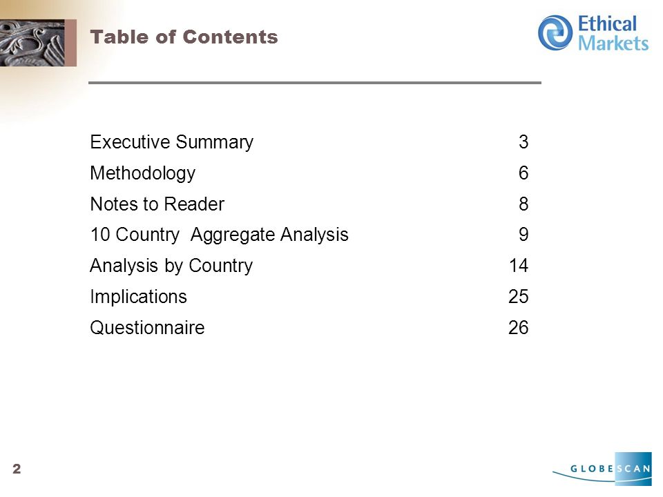 2 Table of Contents Executive Summary3 Methodology6 Notes to Reader8 10 Country Aggregate Analysis9 Analysis by Country14 Implications25 Questionnaire