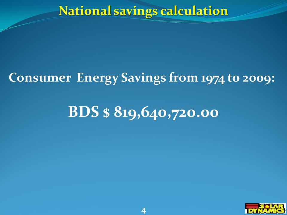 Consumer Energy Savings from 1974 to 2009: BDS $ 819,640,720.00 4