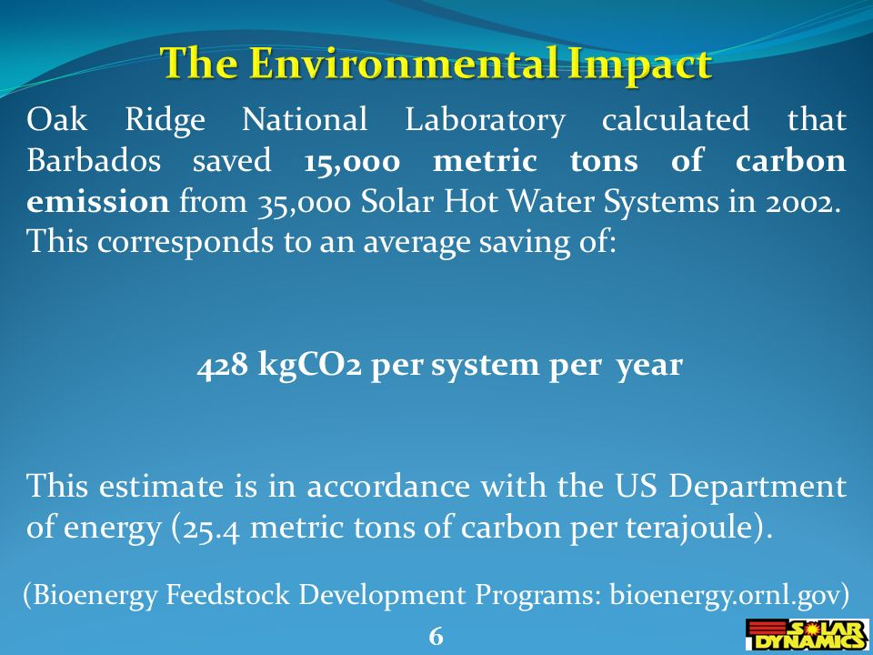 5 Oak Ridge National Laboratory calculated that Barbados saved 15,000 metric tons of carbon emission from 35,000 Solar Hot Water Systems in 2002.