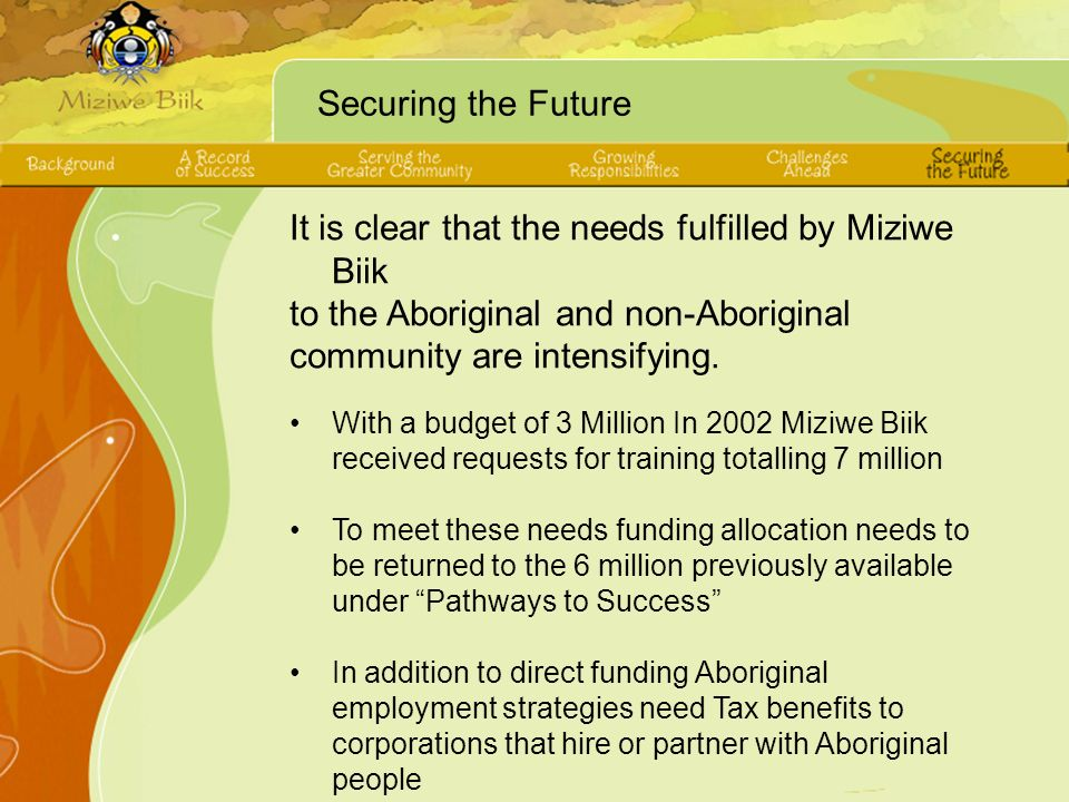 Securing the Future It is clear that the needs fulfilled by Miziwe Biik to the Aboriginal and non-Aboriginal community are intensifying.
