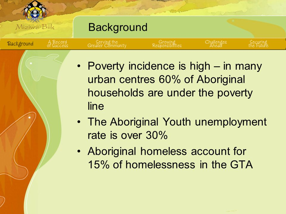 Background Poverty incidence is high – in many urban centres 60% of Aboriginal households are under the poverty line The Aboriginal Youth unemployment rate is over 30% Aboriginal homeless account for 15% of homelessness in the GTA