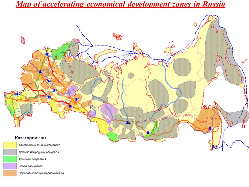 Map of accelerating economical development zones in Russia