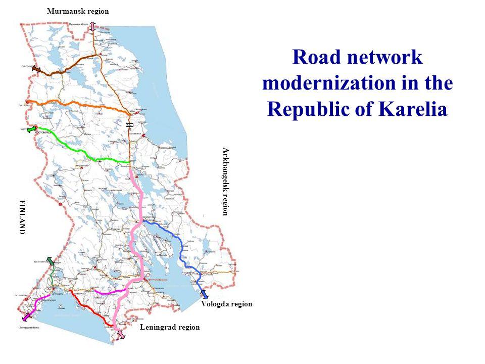 Vologda region Leningrad region Murmansk region Road network modernization in the Republic of Karelia М- 18 FINLAND Arkhangelsk region