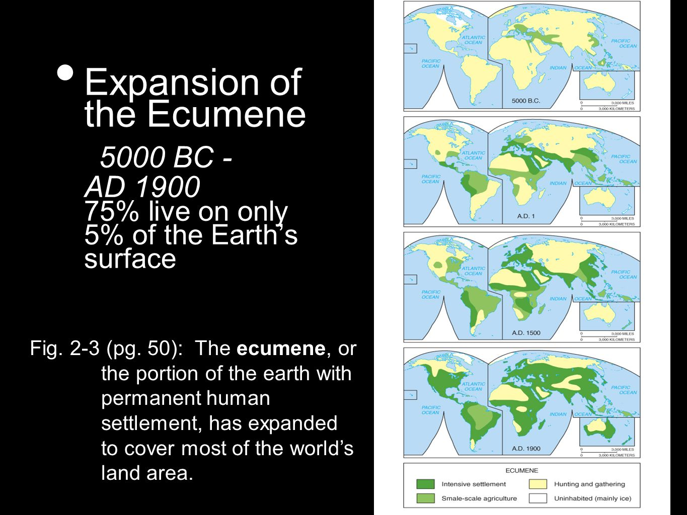 Expansion of the Ecumene 5000 BC - AD 1900 75% live on only 5% of the Earths surface Fig. 2-3 (pg. 50): The ecumene, or the portion of the earth with