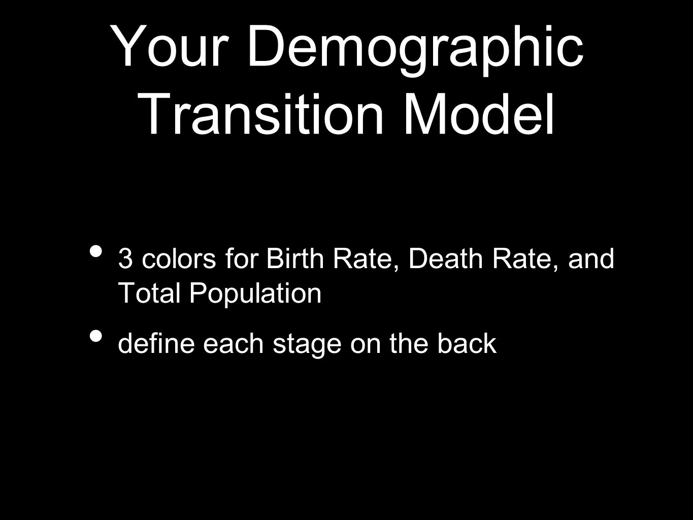 Your Demographic Transition Model 3 colors for Birth Rate, Death Rate, and Total Population define each stage on the back