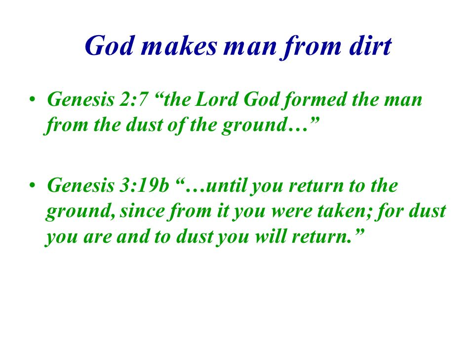 God makes man from dirt Genesis 2:7 the Lord God formed the man from the dust of the ground… Genesis 3:19b …until you return to the ground, since from