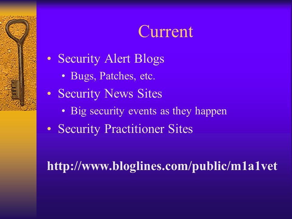 Current Security Alert Blogs Bugs, Patches, etc.