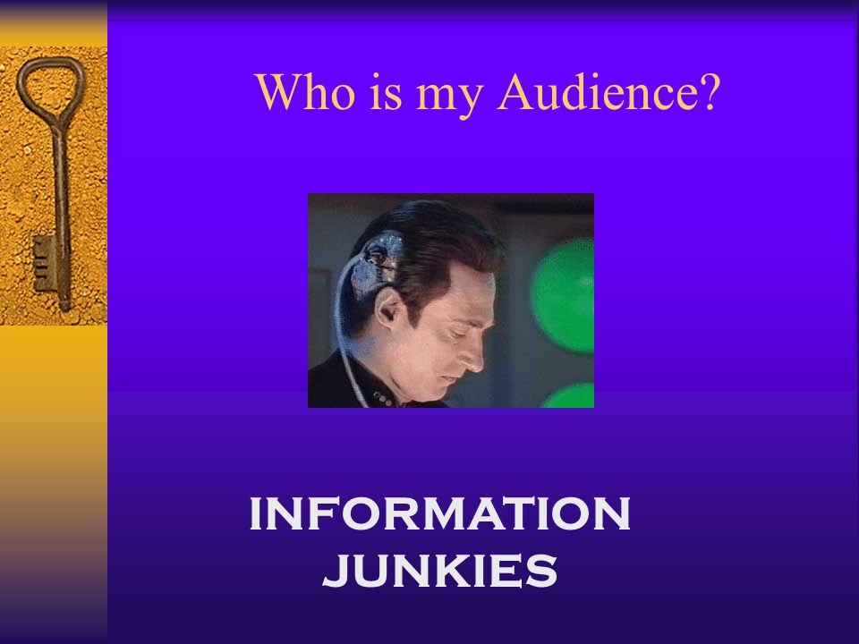 INFORMATION JUNKIES Who is my Audience
