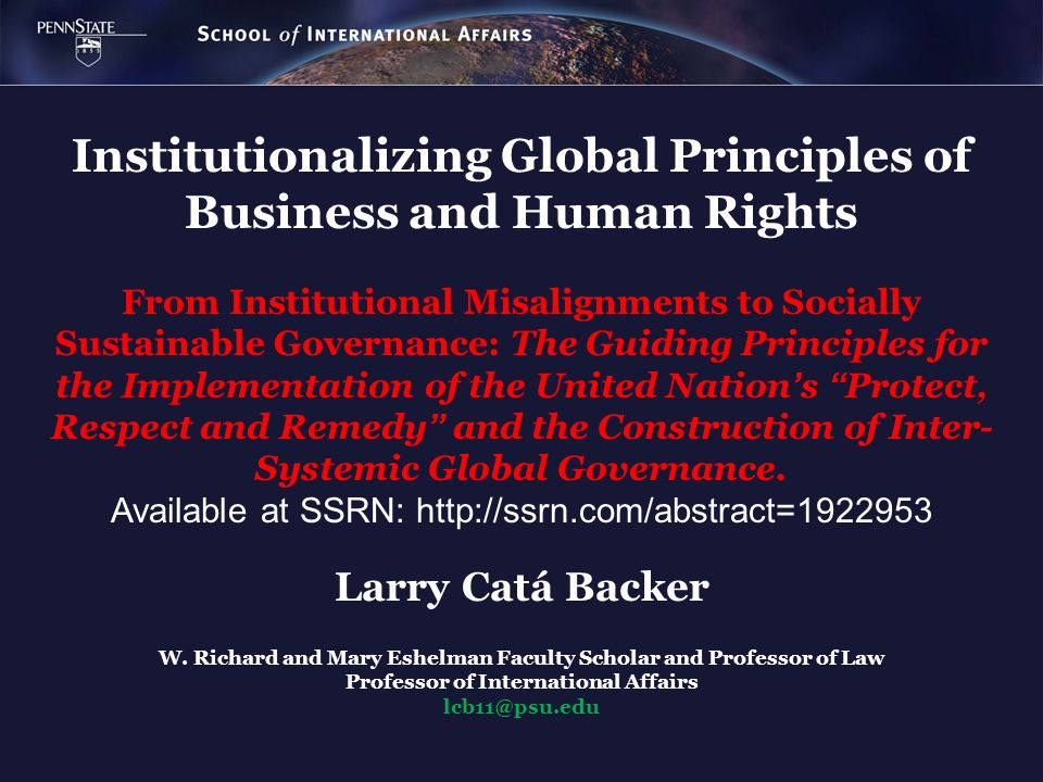 Institutionalizing Global Principles of Business and Human Rights From Institutional Misalignments to Socially Sustainable Governance: The Guiding Pri