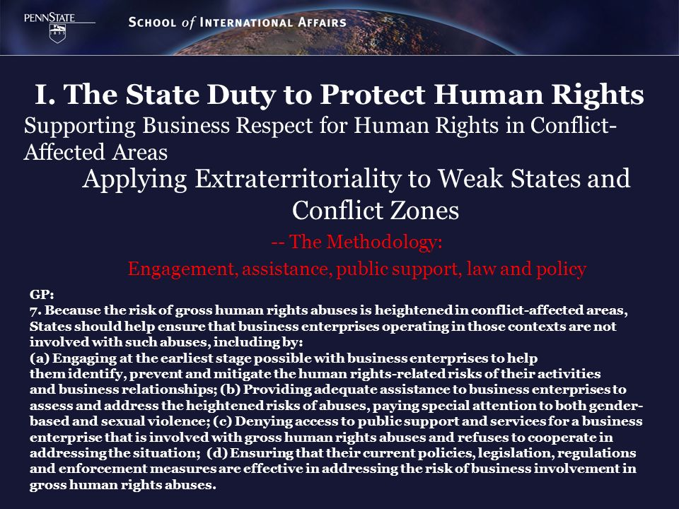 I. The State Duty to Protect Human Rights Supporting Business Respect for Human Rights in Conflict- Affected Areas Applying Extraterritoriality to Wea